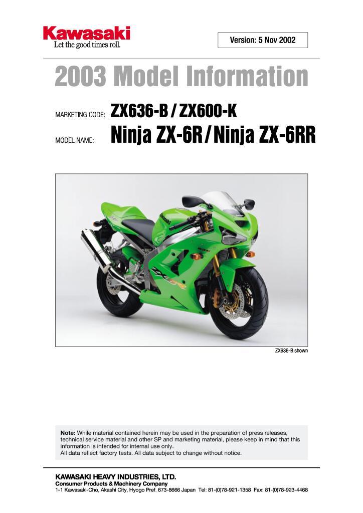 2003 Kawasaki Zx6r Model Information Pdf  676 Kb
